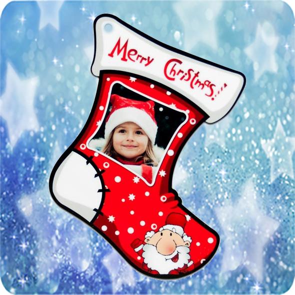 Fényképes karácsonyfadísz Csizma