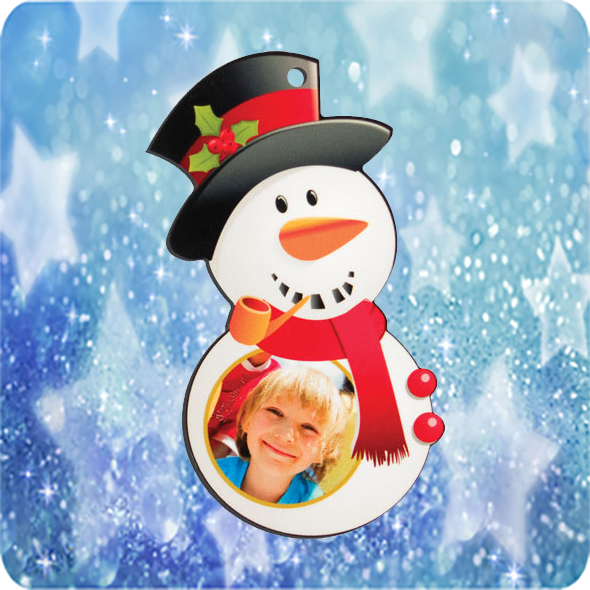 Fényképes Karácsonyfadísz Hóember