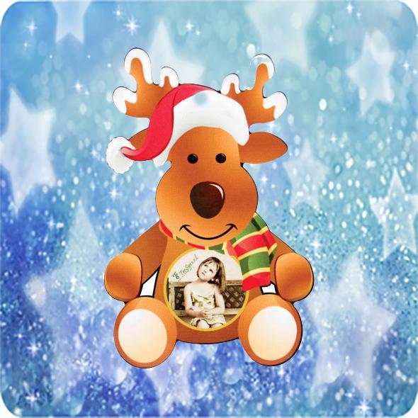 Fényképes Karácsonyfadísz Rénszarvas